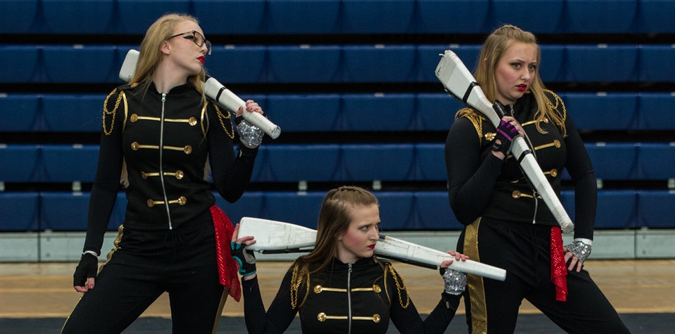 3 Honor Guard Students at work in regional competition in Hamilton, OH