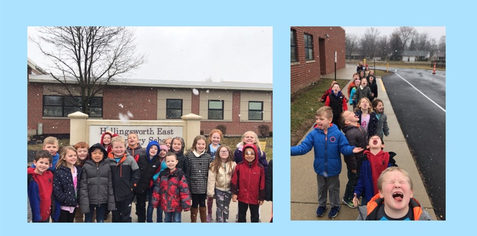 Students in Mrs. Fomin's class enjoy a quick walk outside to see the snow fall before coming inside to do snowflake addition in math.