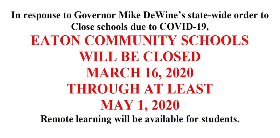 Extended School Closure through May 1, 2020