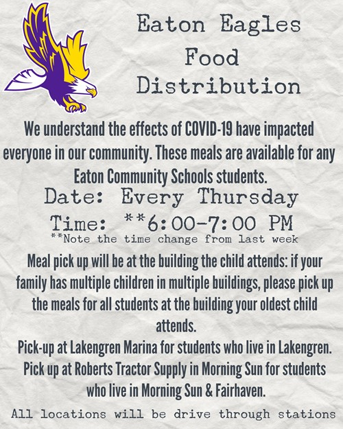 Food Distribution Thursdays 6:00 p.m. to 7:00 p.m.